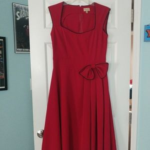 Lindy Bop red bow swing dress retro vintage L